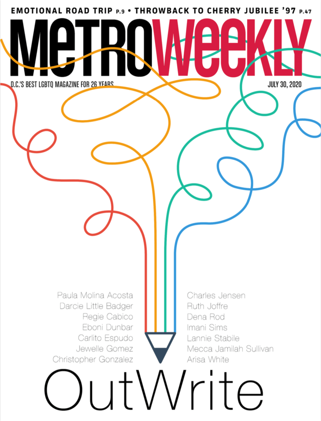 Metro Weekly cover of OutWrite 2020 featured issue