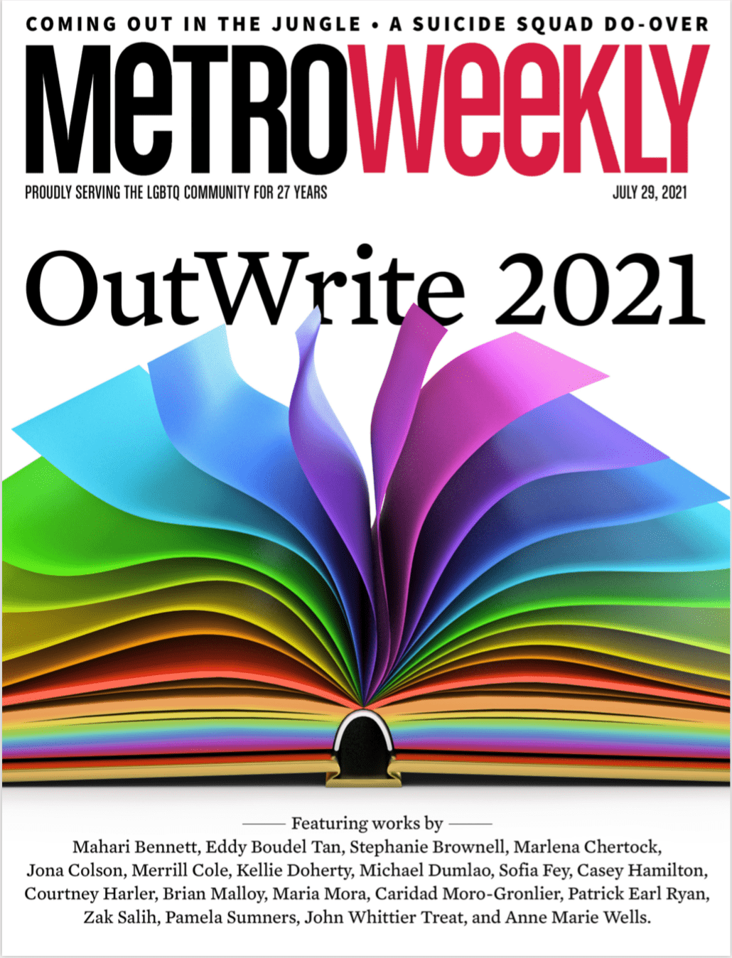 Metro Weekly cover of OutWrite 2021 featured issue